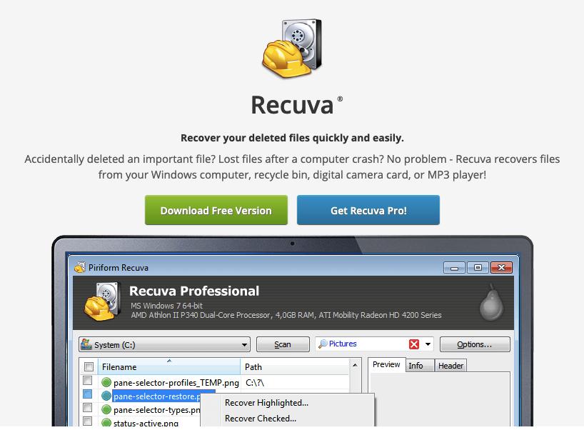 Recuva - программа для восстановления удалённых файлов